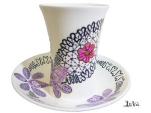 Cana ceai cu farfurie si dantela portelan Luka