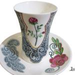 Cana ceai farfurie trandafir portelan Luka