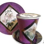 Farfurie cana ceai cu crini mov de portelan Luka
