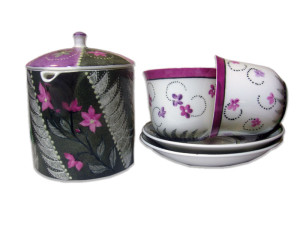 Set ceai flori mov