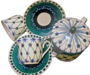 Set ceai ceainic cu 2 cescute verde si turqoise